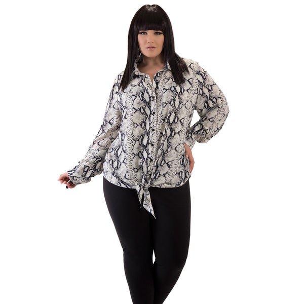 Women's Snake Print Plus Size Top