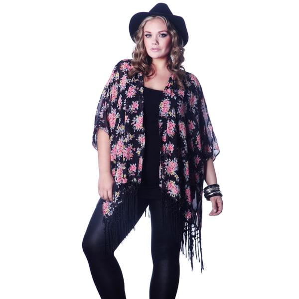 Women's Floral Plus Size Kimono