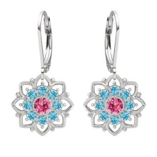 Lucia Costin Sterling Silver Pink/ Light Blue Crystal Earrings