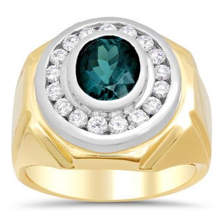 14k Two-tone Gold 1ct TDW Diamond and Indicolite Tourmaline Ring (F-G, SI1-SI2)