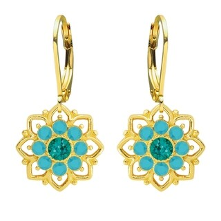 Lucia Costin Yellow Goldplated Sterling Silver Turquoise-Green/ Turquoise Crystal Dot Earrings