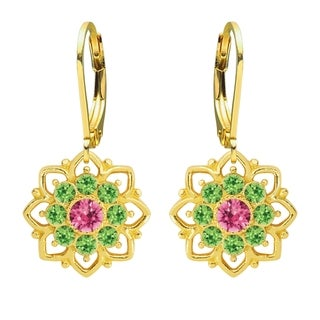 Lucia Costin Yellow Goldplated Sterling Silver Pink/ Light Green Crystal Earrings