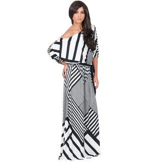 Koh Koh Women's One Shoulder Block Print 3/4-Length Sleeve Maxi Dress