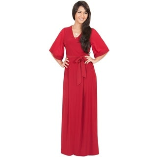 Koh Koh Women's 3/4-Length Sleeve V-Neck Elegant Maxi Dress