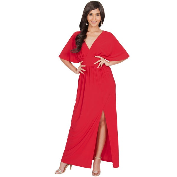 Koh Koh Women's V-Neck Batwing Sleeve Maxi Dress (As Is Item)