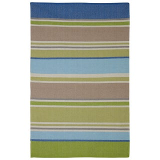 Indian Hope Blue and Green Multicolored Cotton Rug (4' x 6')