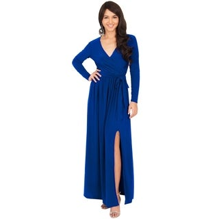 Koh Koh Women's Long-Sleeve V-Neck Slit Maxi Dress