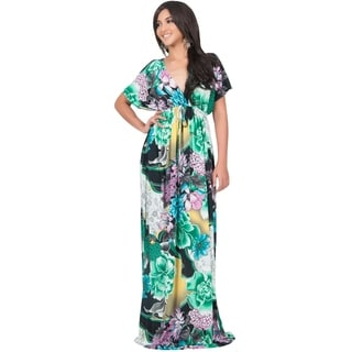 Koh Koh Women's Kimono Sleeve Bright Floral Print V-Neck Maxi Dress