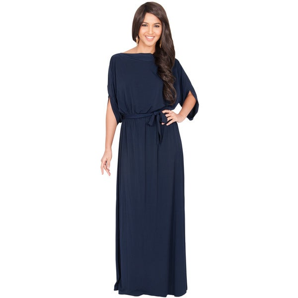Koh Koh Women's Batwing Half-Sleeve Boat Neck Maxi Dress