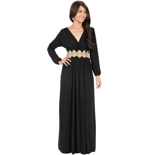 Koh Koh Women's Long-Sleeve V-Neck Maxi Dress
