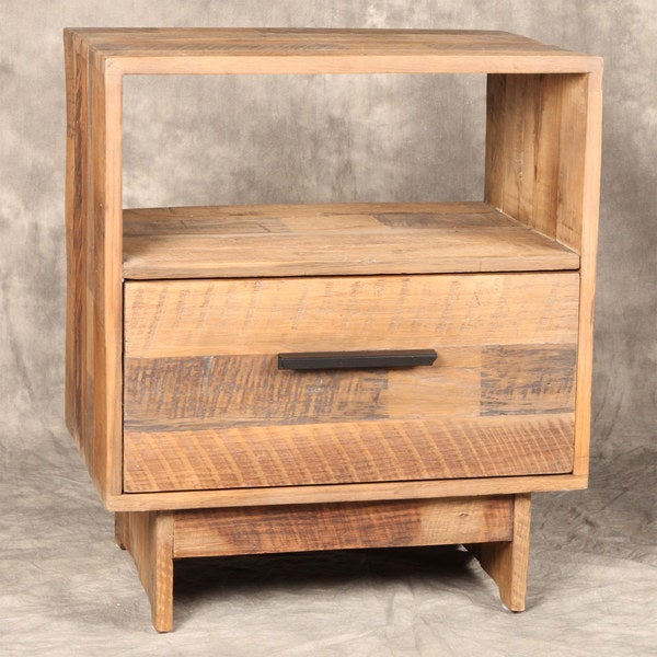 Reclaimed Pine Wood 1-drawer End Table