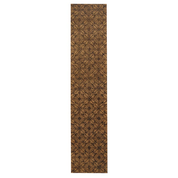 Herat Oriental Indo Hand-tufted Tibetan Tan/ Brown Wool Rug (2'7 x 12')
