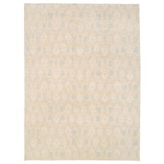 Herat Oriental Afghan Hand-knotted Vegetable Dye Ikat Light Blue/ Ivory Wool Rug (9'2 x 12')