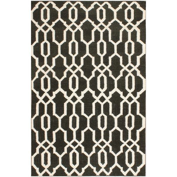 ABC Accents Moroccan Black Ivory Wool Rug (5' x 8')