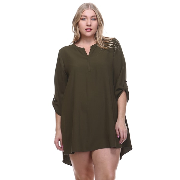Women's Plus Size V-Neck Rolled Sleeve Hi/ Low Hem Tunic Dress