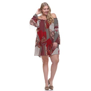 Women's Plus Size Off Shoulder Mini Dress With Patchwork Print