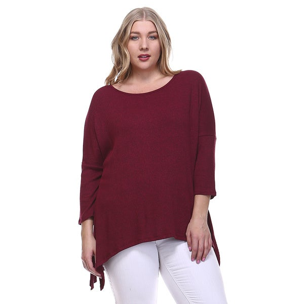 Orange Creek Women's Plus Size Ribbed Knit Top