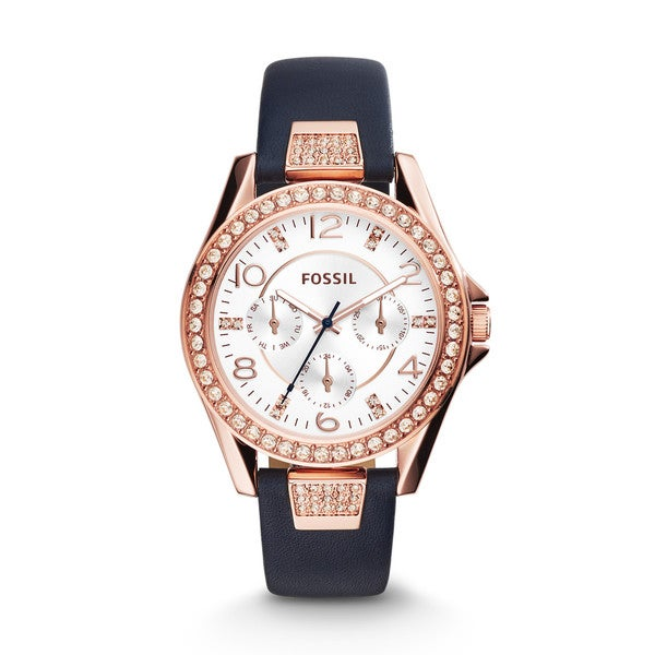 Fossil Women's ES3887 'Riley' Multi-Function Crystal Blue Leather Watch