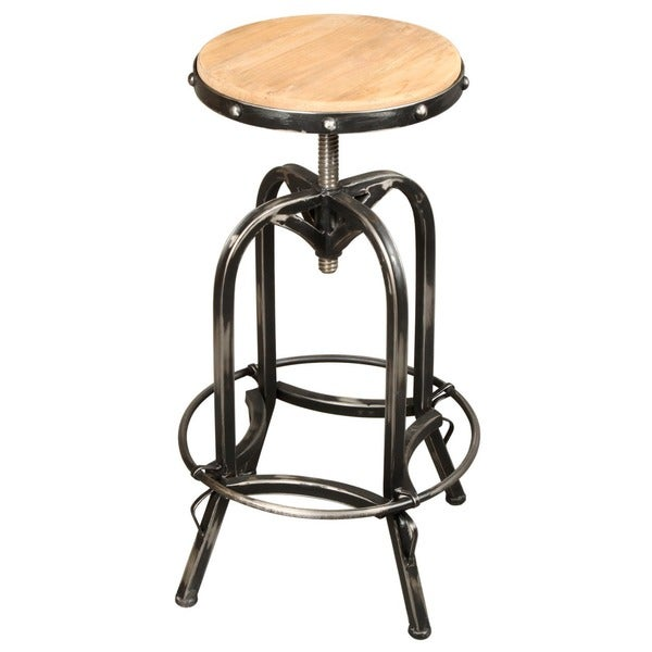 Reclaimed Pine Wood Iron Base Bar Stool 16973594