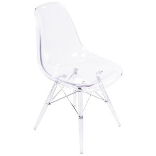 Clear Acrylic Eames-Style Side Chair with Clear Legs