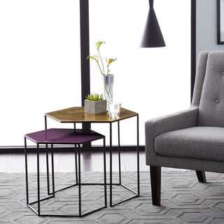 Brass and Purple Nesting Tables