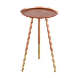 Warm Copper and Brass Ferrule Leg Side Table