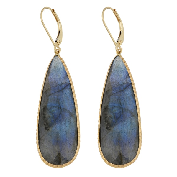 Fremada 14k Yellow Gold Labradorite Leverback Teardrop Earrings