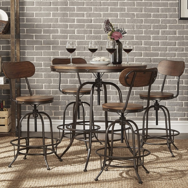 Berwick industrial style round counter height pub for Pub style dining sets