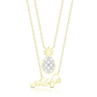 Finesque Gold Overlay Diamond Accent Pineapple Aloha Hawaii Necklace