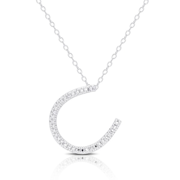 Finesque Silver Overlay Diamond Accent Lucky Horse Shoe Necklace