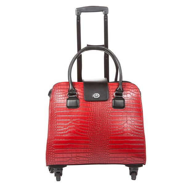 Hang Accessories Red Crocodile Carry-on Rolling Spinner Tote Bag