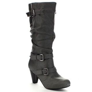 Blue Suede Shoes DAVIDA-5-H Women's Classic Buckle Strap Boots