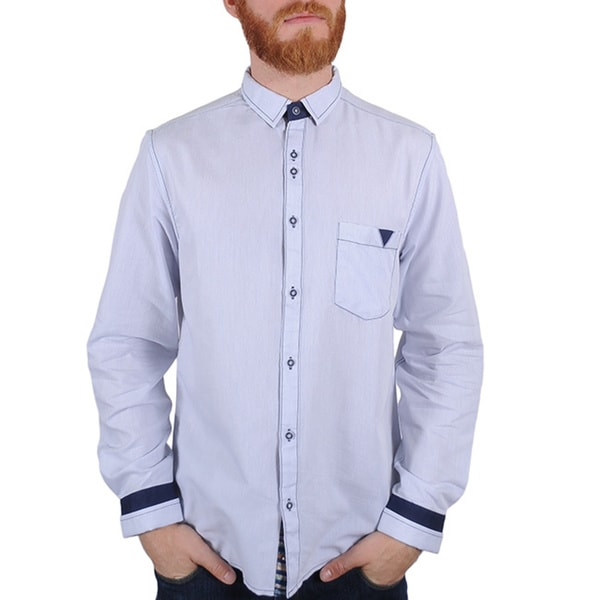 Lennon and McCartney Men's 'Blackbird' Blue Shirt