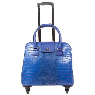 Hang Accessories Blue Crocodile Carry-on Rolling Spinner Tote Bag