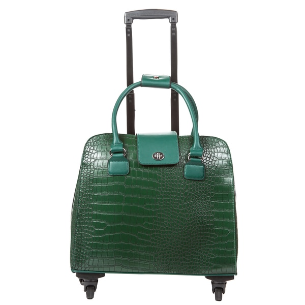 Hang Accessories Green Crocodile Carry-on Rolling Spinner Tote Bag