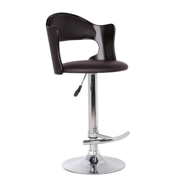 Wood and Dark Brown Faux Leather Adjustable Swivel Bar Stool