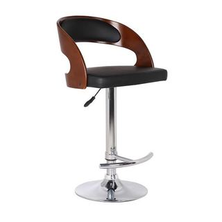 Wood and Black Faux Leather Adjustable Swivel Bar Stool
