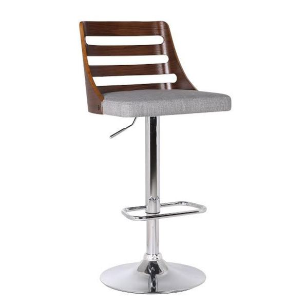 Wood And Grey Fabric Adjustable Swivel Bar Stool
