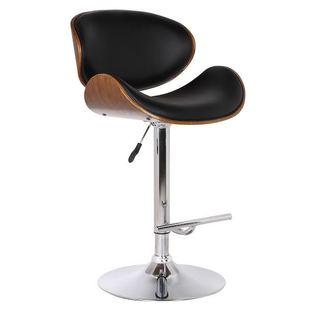 Walnut and Black Faux Leather Adjustable Swivel Bar Stool