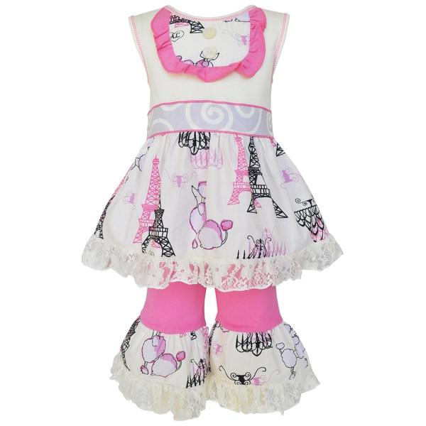 AnnLoren Girls Boutique Pink Paris Dress and Capri Outfit