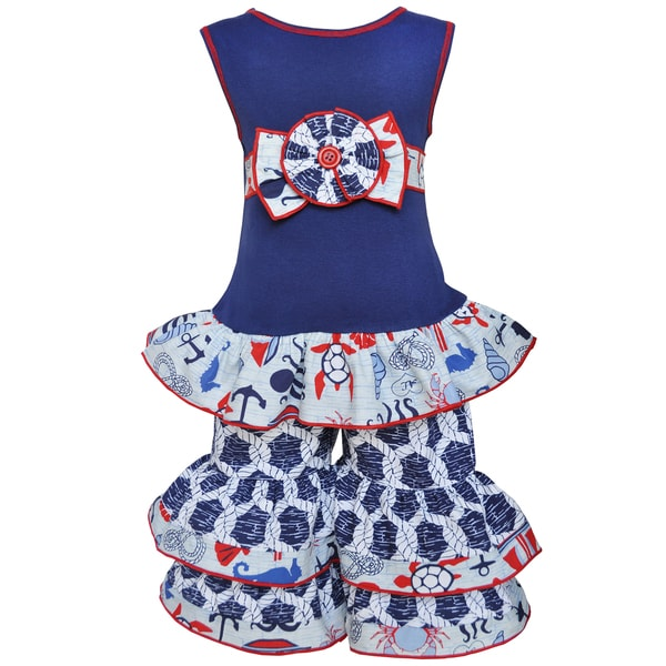 AnnLoren Girls Boutique Anchors Away Nautical Tunic and Capri Outfit 16975449