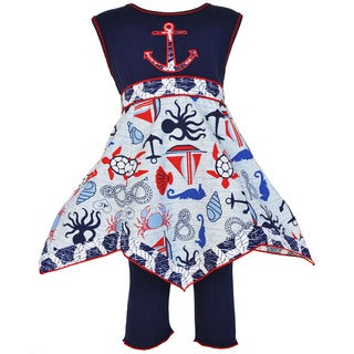 AnnLoren Boutique Seaside Nautical Hanky Dress and Legging Outfit