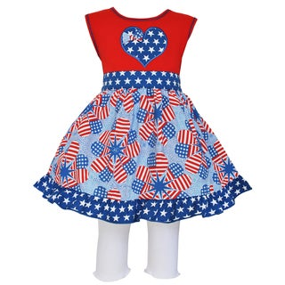 AnnLoren Girls' Boutique Patriotic Heart Flags Dress/ Capri Leggings Outfit