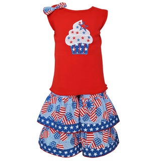 AnnLoren Boutique Patriotic Cupcake Heart Flags Dress and Capri Outfit