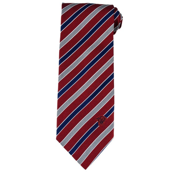 Versace 100-percent Italian Silk Red/ Grey Stripe Neck Tie