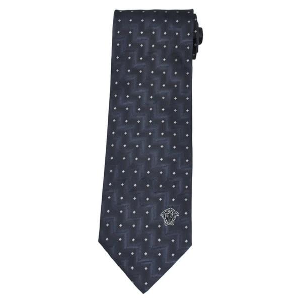 Versace 100-percent Italian Silk Grey Zigzag Neck Tie