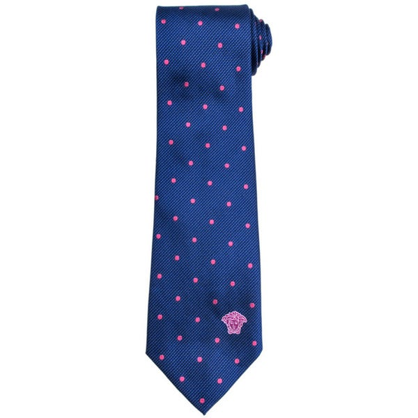 Versace 100-percent Italian Silk Blue/ Pink Polka Dot Neck Tie