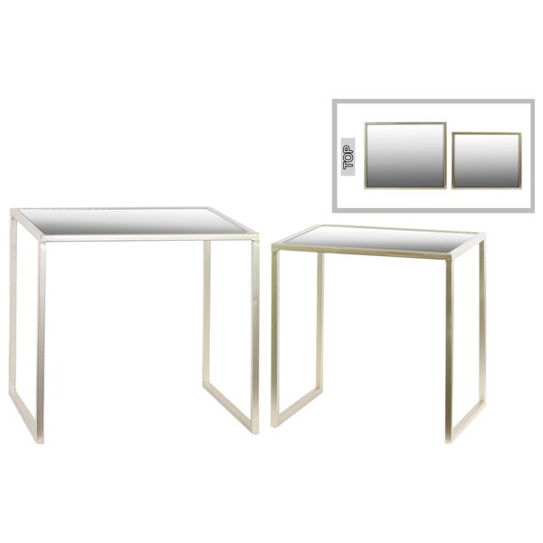 Metal Rectangular Metallic Finish Champagne Nesting Accent Tables with Framed Mirror Table Top and Square Legs (Set of Two)