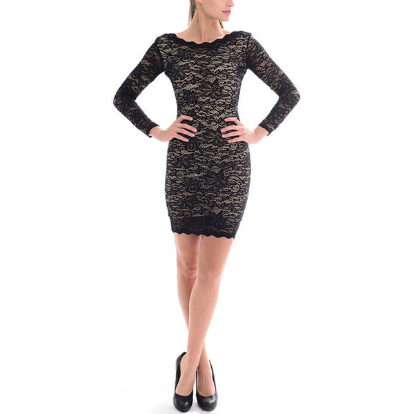 Sentimental NY Women's Long-Sleeve Scalloped Lace Dress