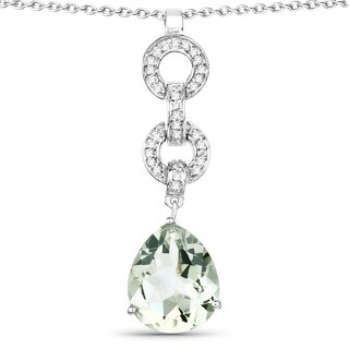 Malaika Sterling Silver 5 1/8ct TGW Green Amethyst and White Topaz Pendant